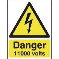 Danger 11000 Volts Signs