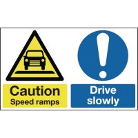 Caution Speed Ramps Drive Slowly Signs