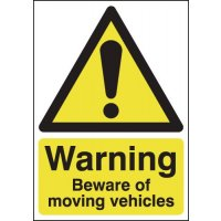 Warning Beware of Moving Vehicles Sign