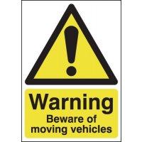 Warning Beware of Moving Vehicles Sign