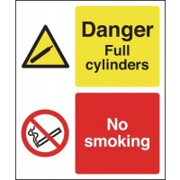 Danger Full Cylinders No Smoking Multi-Message Signs