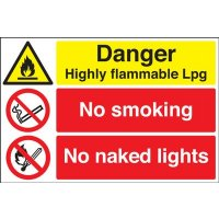 Danger Flammable LPG/No Smoking Multi-Message Signs