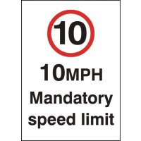 10 mph Mandatory Speed Limit Signs