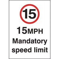 15 mph Mandatory Speed Limit Signs