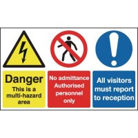 Hazard Area/Authorised Personnel/All Visitors... Signs