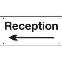 Reception (Arrow Left) Vandal-Resistant Sign