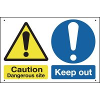 Caution Dangerous Site/Keep Out Vandal-Resistant Sign