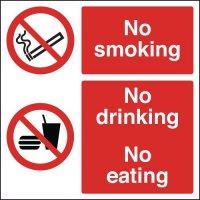 No Smoking No Drinking No Eating Multi-Message Signs