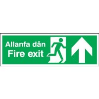 Fire Exit Running Man/Arrow Up Multi-Language Signs