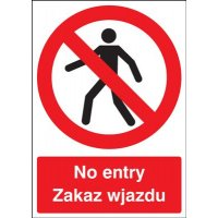 No Entry English \ Polish Multi-Language Signs