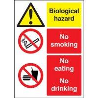Biological Hazard/No Smoking... Multi-Message Signs