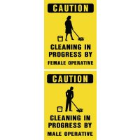 Cleaning In Progress By Female/Male Floor Stand