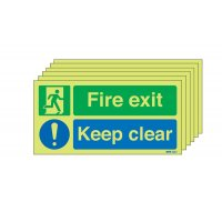 6-Pack Nite-Glo Fire Exit Keep Clear Fire Door Signs