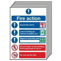 6-Pack Fire Action Symbolised Signs