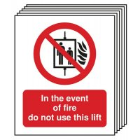 6-Pack In The Event Of A Fire Do Not Use This Lift Signs