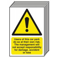 6-Pack Car Park Risk/Responsibility For Damage Signs