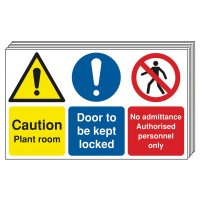 6-Pack Caution Plant Room Door To Be Kept Locked Signs