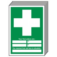 6-Pack First Aiders and First Aid Box Signs