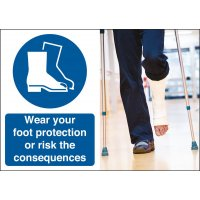 Wear Your Safety Shoes Consequences Safety Sign