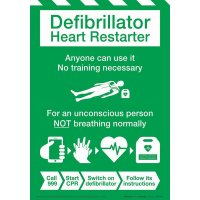 Defibrillator Heart Restarter Instruction Poster