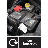 Car Batteries - WRAP Automotive Waste Recycling Pictorial Signs