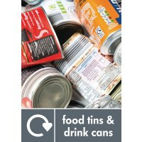 Food Tins & Drink Cans WRAP Metal Recycling Pictorial Signs