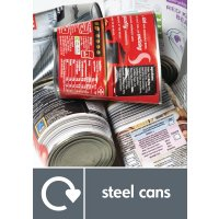 Steel Cans - WRAP Metal Waste Recycling Pictorial Signs