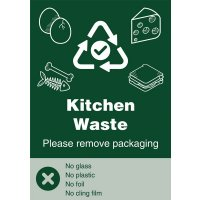 Kitchen Waste - WRAP Yes/No Recycling Symbol Sign