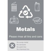 Metals - WRAP Yes/No Recycling Symbol Sign