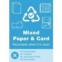 Mixed Paper & Card - WRAP Yes/No Recycling Symbol Sign