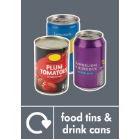 Food Tins & Drink Cans - WRAP Photographic Recycling Signs