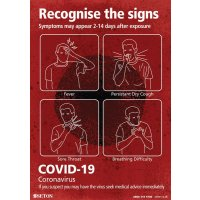 COVID-19 - Recognise The Signs Poster (Red)