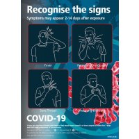 COVID-19 - Recognise The Signs Sign (Blue)