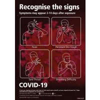 COVID-19 - Recognise The Signs Sign (Black & Red)