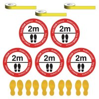 Social Distancing - Please Stand 2m Apart Floor Sign & Footprint Kit