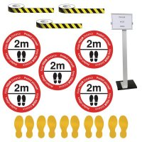 Social Distancing - Information Sign & Yellow Floor Marking Kit