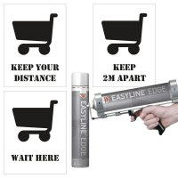 Social Distancing Floor Stencil Bundle Kit - Trolley