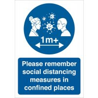 Please Remember Social Distancing In Confined Places Sign