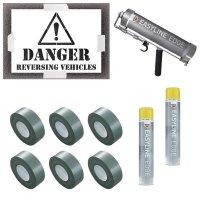 Danger Reversing Vehicles Stencil Kit