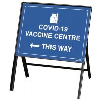COVID-19 Vaccine Centre This Way Stanchion Sign
