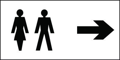 Toilet Directional Sign - Right Arrow