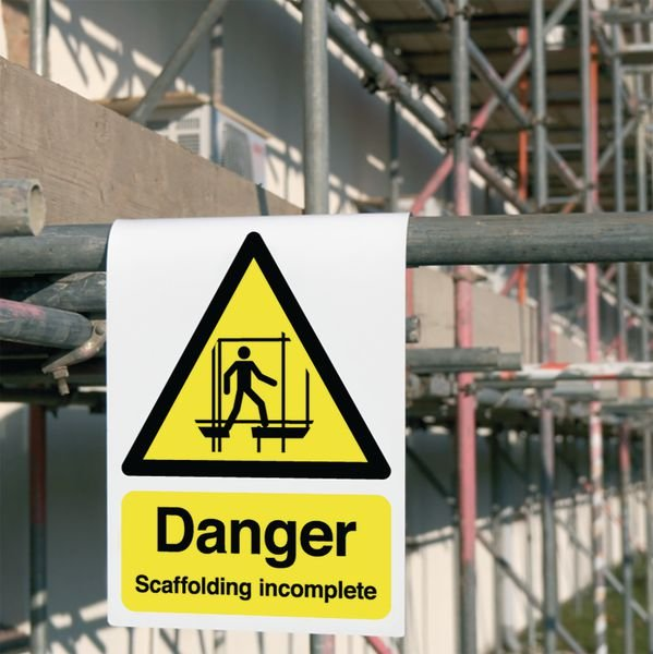 Danger Scaffolding Incomplete Roll-Top Sign - Seton