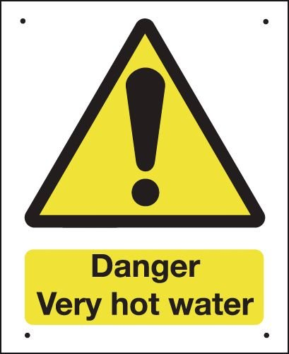 Danger Very Hot Water - Vandal-Resistant Sign