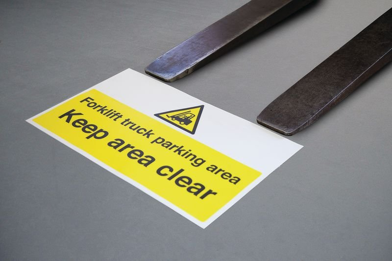Forklift Truck Parking Area Keep Clear Floor Sign - Seton