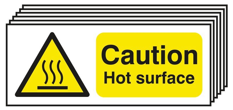 6-Pack Caution Hot Surface Signs