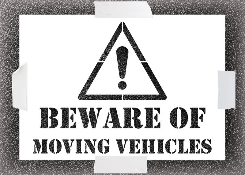Reusable Stencil - Beware Of Moving Vehicles