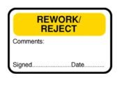 Rework/Reject/Comments/Signed/Date QA Labels
