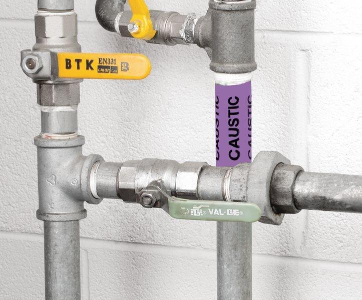 British Standard Pipeline Marking Tape - Caustic - Seton