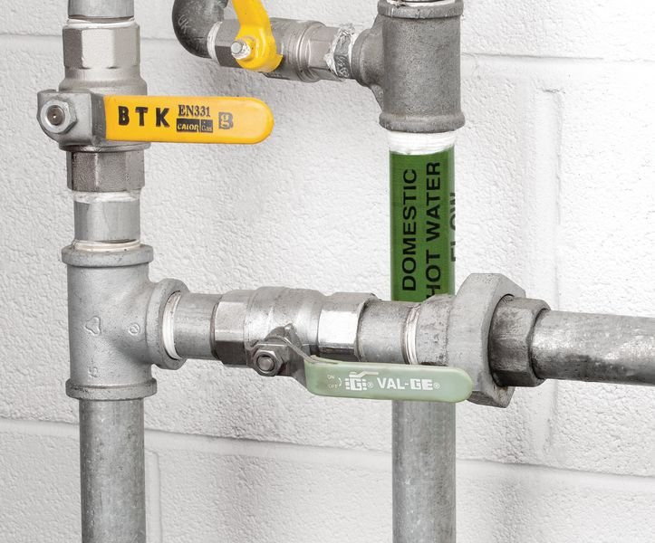Domestic Hot Water Flow BS Pipe Marking Tape - Seton