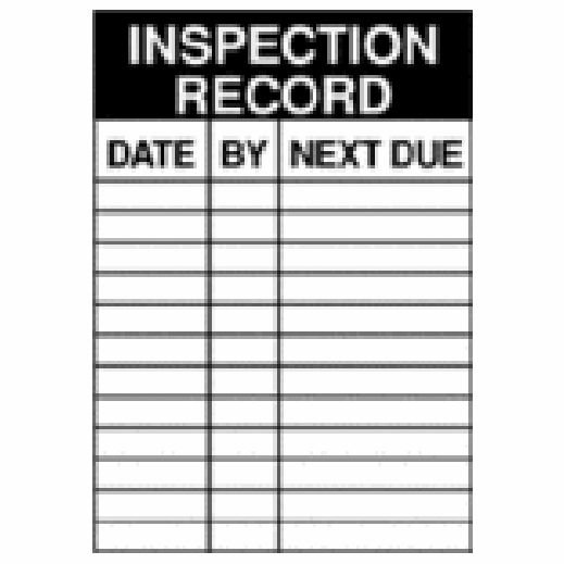 Inspection Record/Date/By/Next Due Service Labels